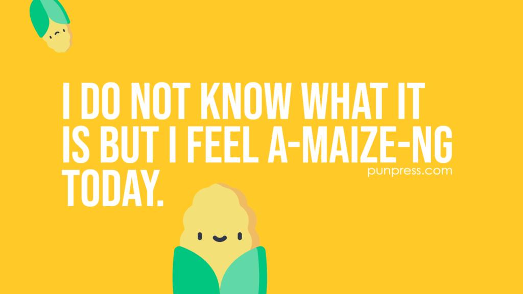 i do not know what it is but I feel a-maize-ng today - corn puns