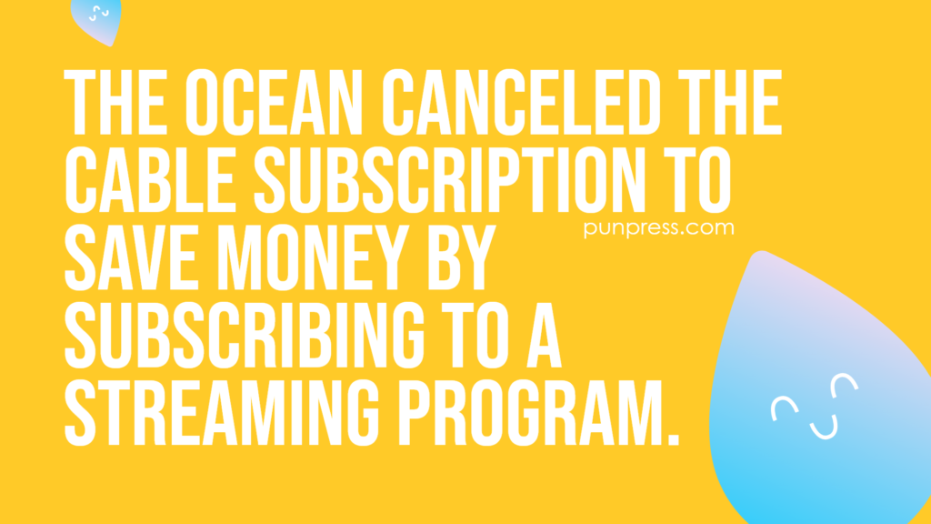 the ocean canceled the cable subscription to save money by subscribing to a streaming program - water puns